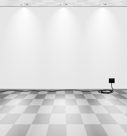 art museum: Grey room with power socket and cord