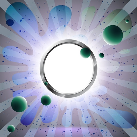 light source: Balls floating to the light source through the metal ring Illustration