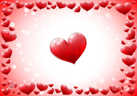 Glossy hearts frame Vector