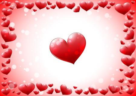 day saint valentin: Glossy hearts frame