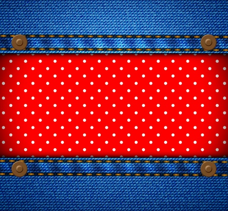 Jeans frame with polka dot patch Stock Vector - 12130129