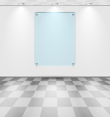 Room with glass placeholder Vector