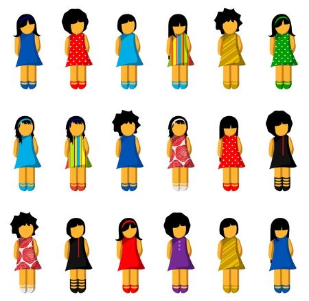 Set of girls with colorful dresses Vector