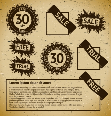 Sale, free and trial vintage stamp labels Stock Vector - 12404969