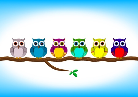 wise owl: Funny colorful owls in a row