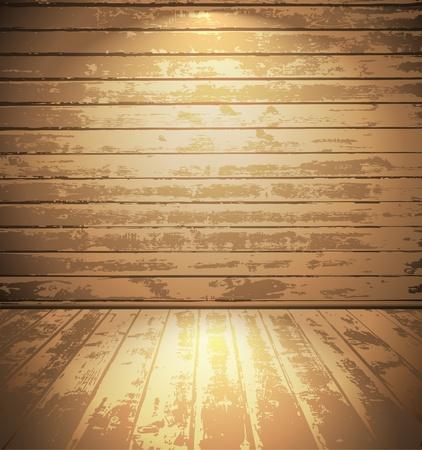 abandoned house: Light wooden room Illustration