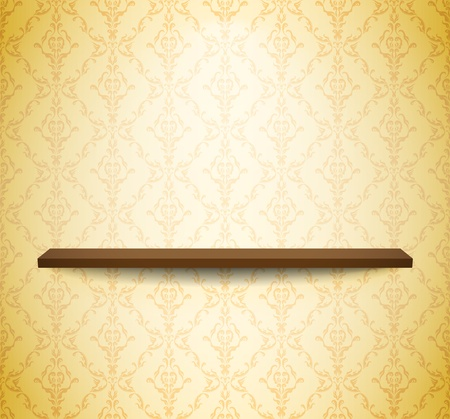 Wooden shel on the light wall with wallpaper Vector