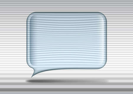 Glass speech bubble in the grey striped room Vector