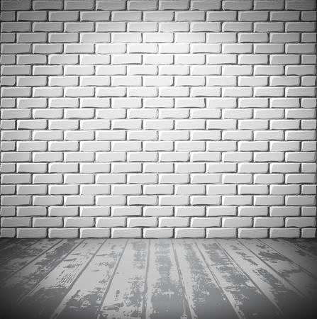mur grunge: Salle de briques blanc avec plancher en bois