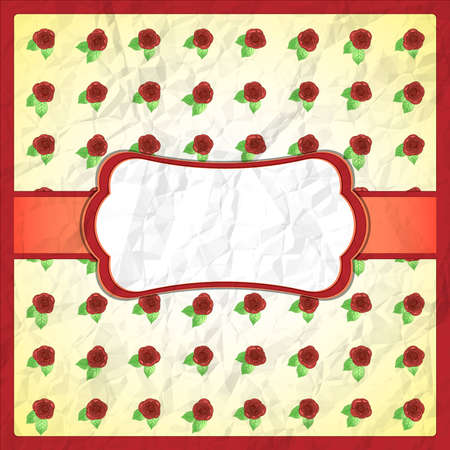 Crumpled lace frame with roses Vector