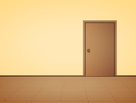 empty room: Pale interior with door
