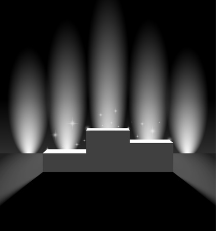 Pedestal with vertical background lights Vector