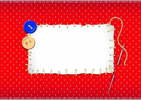 hilo rojo: Parche cosido con botones y agujas