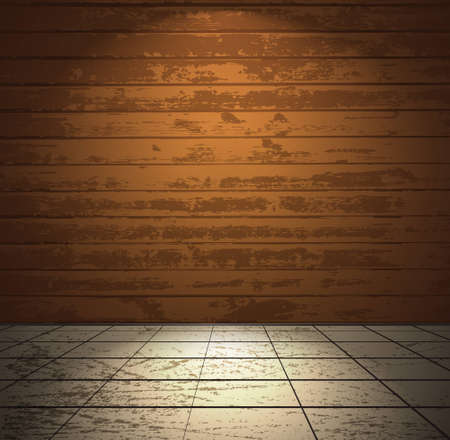 Colorful wooden room with tiled floor Vector