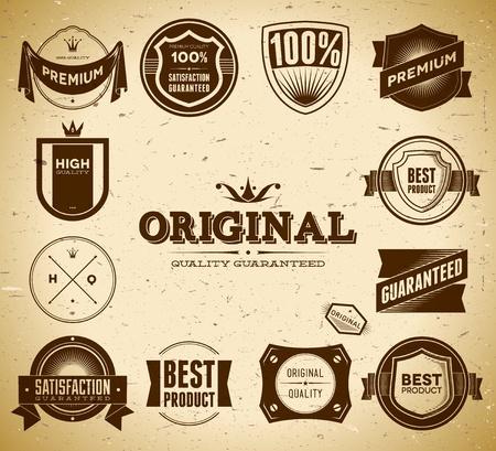 Set of vintage Original an Premium Quality labels Stock Vector - 12497088