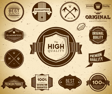Set of vintage Original an Premium Quality labels Vector