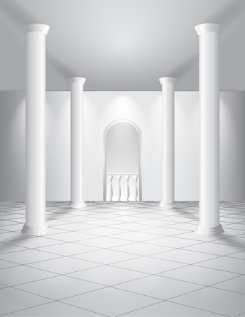 3d interior picture: White hall with columns Illustration