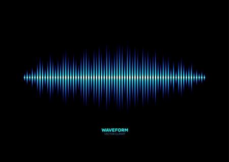 electronica musica: Forma de onda de la m�sica brillante azul Vectores