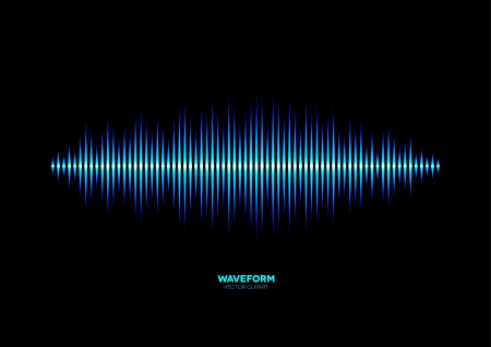electronic music: Shiny blue music waveform