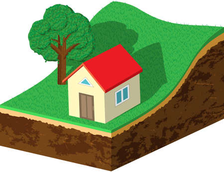 cross section of tree: Earth slice with house and tree