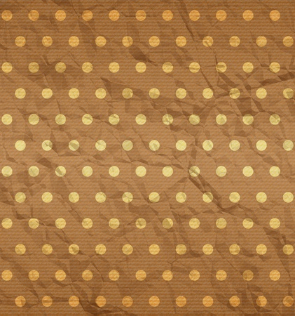 Crumpled fabric with brown polka dot texture Vector