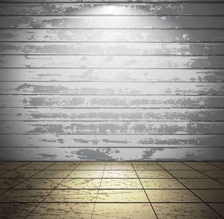 craquelure: Blanc pi�ce en bois avec carrelage au sol Illustration