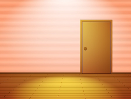 Pink lightened room with door Vector