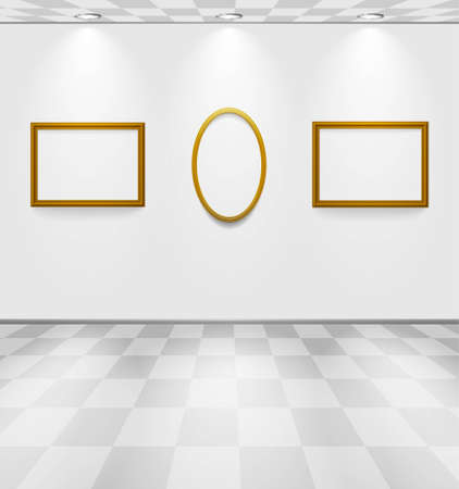 Grey room with frames Stock Vector - 12815928