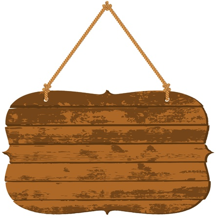 wood paneling: Wooden signboard Illustration