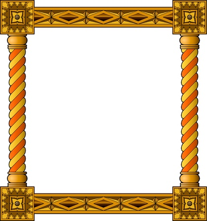 wood carving: Traditional wooden frame Illustration