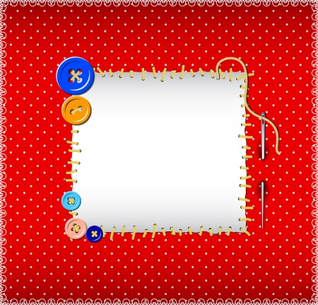 patchwork: Polka dot pattern with stitched buttons Illustration
