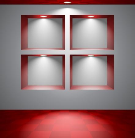 minimal: Habitaci�n gris con nichos