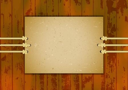 rope border: Cardboard frame on three ropes Illustration