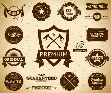 Vintage Premium Quality labels  Collection 6 Vector