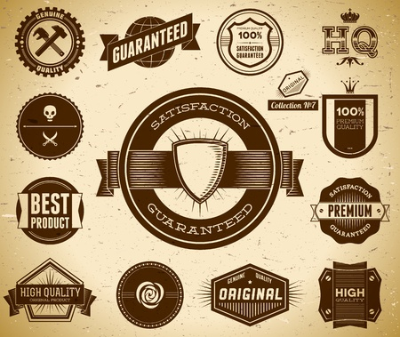 Vintage Premium Quality labels  Collection 7 Vector