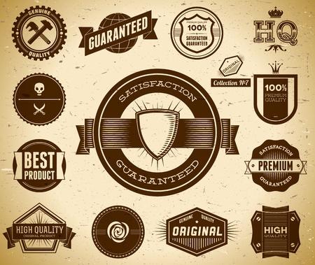 Vintage Premium Quality labels  Collection 7 Vector