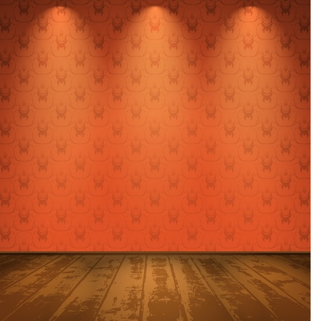 exposition: Red room with wooden floor