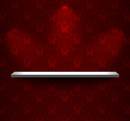 Shelf on the wall with dark red wallpaper Vector
