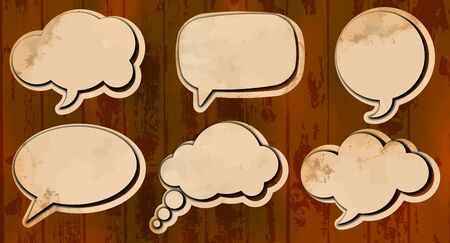 Aged cut out speech bubbles Vector