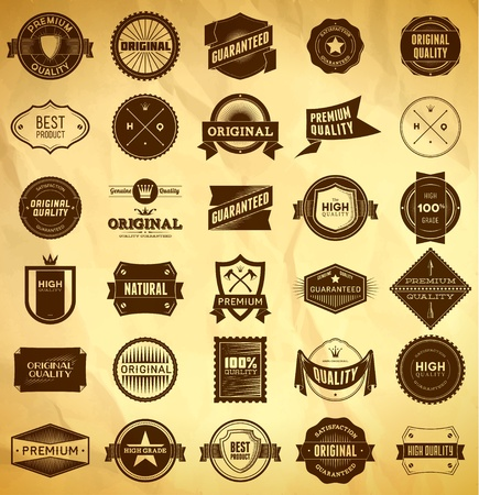 Big set of vintage Premium Quality labels Vector