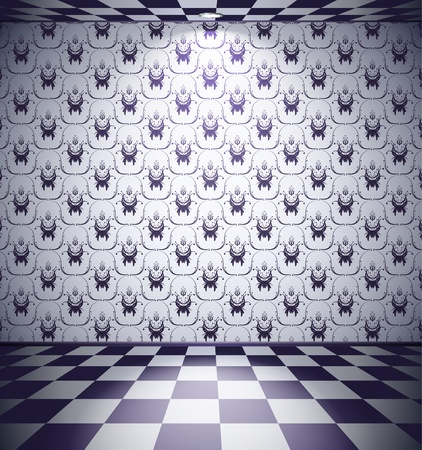 Black and white room with floral wallpaper Vector
