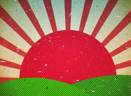paisaje vintage: Rayado tarjeta de cart�n con el sol Vectores