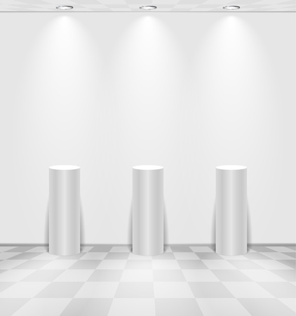 White room with stands Vector