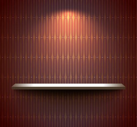 Shelf on the brown wall Vector