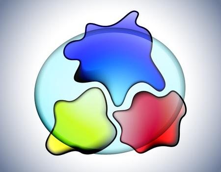 ameba: Amebas de vidrio transparente Vectores