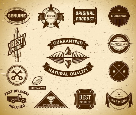 Set of vintage Premium Quality labels. Collection #9 Illustration