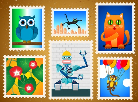 Set of colorful postage stamps Vector