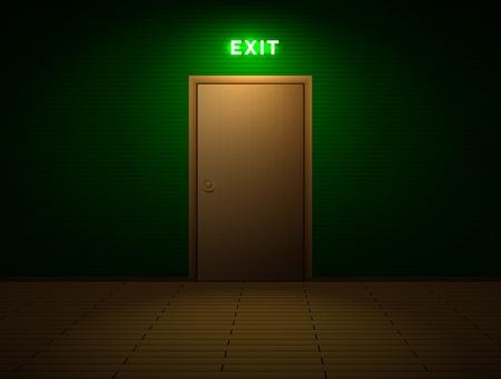 sortir: Chambre noire avec panneau de sortie Illustration
