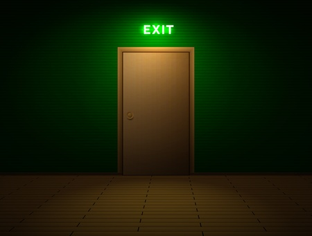 emergency light: Dark room with exit sign