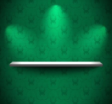 Shelf on the wall with green floral wallpaper Vector